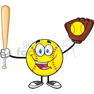happy softball player cartoon character holding a bat and glove with ball vector illustration isolated on white background clipart. Royalty-free image # 400200