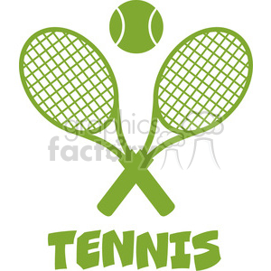 green crossed racket and tennis ball vector illustration isolated on white with text tennis