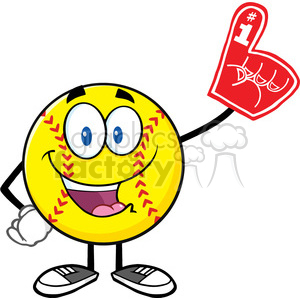 happy softball cartoon mascot character wearing a foam finger vector illustration isolated on white background clipart. Royalty-free image # 400220