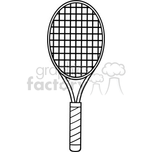 black and white cartoon tennis racket vector illustration isolated on white clipart. Royalty-free image # 400230