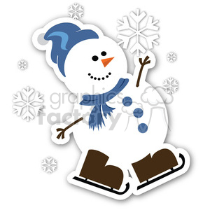 snowflake sticker snowing animation. Royalty-free animation # 400414
