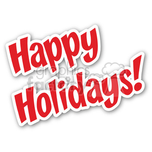 happy holidays sticker clipart. Commercial use image # 400451