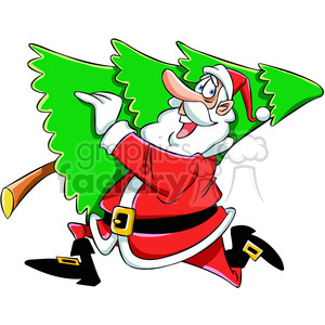 cartoon santa running with christmas tree vector art clipart. Commercial use image # 400459
