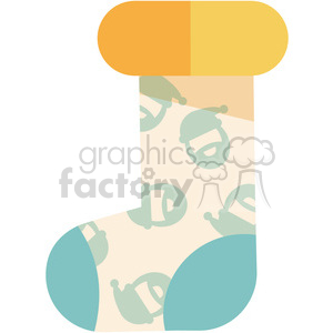 one cartoon christmas stocking vector flat design clipart. Royalty-free image # 400507