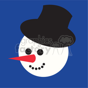snowman head with top hat on blue square icon clipart. Royalty-free image # 400517