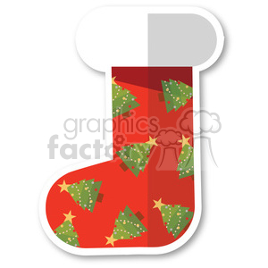 red christmas stocking with christmas trees vector flat design clipart. Royalty-free image # 400537