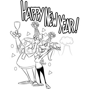 black and white new years eve party invitation vector cartoon art clipart. Commercial use image # 400547