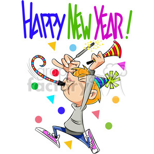 happy new year celebration vector cartoon art clipart. Commercial use image # 400557