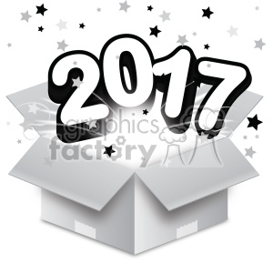 2017 new year exploding from a box vector art clipart. Royalty-free image # 400617