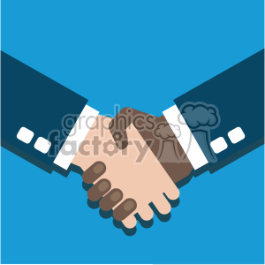 hand shake partner agreement african american white flat design vector art