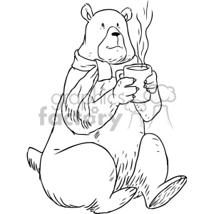 bear drinking coffee character vector illustration clipart. Royalty-free image # 400647