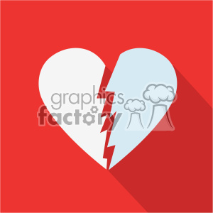 broken heart vector flat design icon art clipart. Royalty-free image # 402296