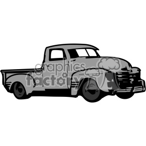 gray old 1954 vintage pickup truck right profile vector image clipart. Royalty-free image # 402336
