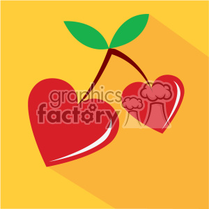 heart shaped cherries for valentines vector art flat design clipart. Royalty-free image # 402374
