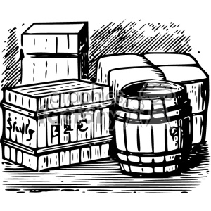 barrel goods vintage 1900 vector art GF clipart. Royalty-free image # 402424