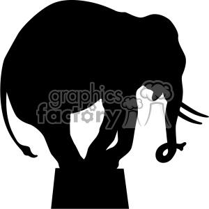 vintage retro old black+white elephant silhouette circus animal animals