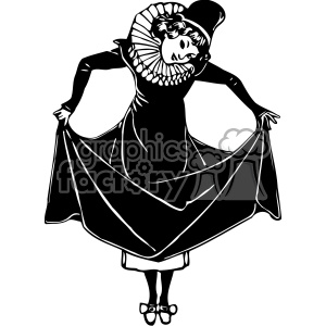 Lady Showing Shoes 1900 vintage 1900 vector art GF clipart. Royalty-free image # 402559