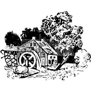 watermill vintage 1900 vector art GF clipart. Royalty-free image # 402579