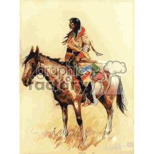 frederic remington vector art breed horse and indian vector art GF clipart. Royalty-free image # 402659