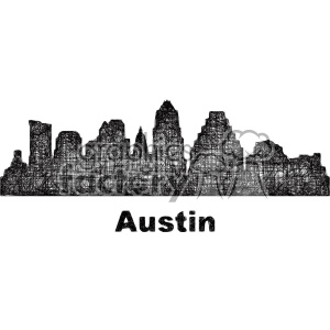 black and white city skyline vector clipart USA Austin clipart. Commercial use image # 402664