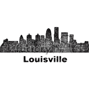 black and white city skyline vector clipart USA Louisville clipart. Commercial use image # 402674