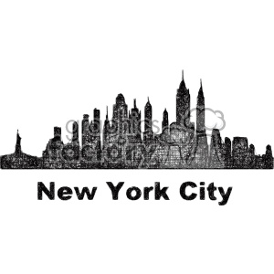 Black And White City Skyline Vector Clipart Usa New York