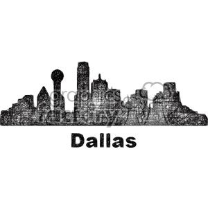 black and white city skyline vector clipart USA Dallas clipart. Commercial use image # 402704