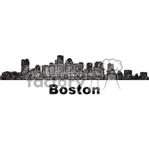 black and white city skyline vector clipart USA Boston clipart. Commercial use image # 402714