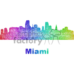 city skyline vector clipart USA Miami