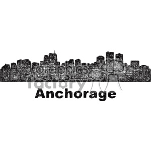 black and white city skyline vector clipart USA Anchorage clipart. Commercial use image # 402734