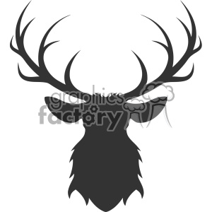 deer head silhouette vector art clipart. Commercial use icon # 403156