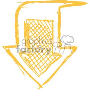 sketched down yellow arrow vector art clipart. Royalty-free image # 403337