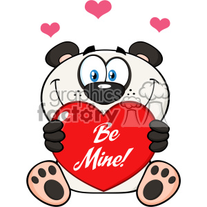 10683 Royalty Free RF Clipart Cute Panda Bear Cartoon Mascot Character Holding A Valentine Love Heart With Text Be Me Vector Illustration clipart. Royalty-free image # 403346