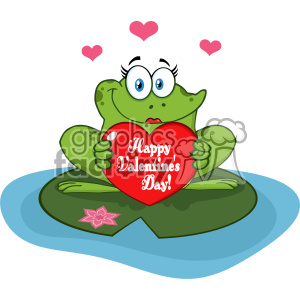Cute Frog Female Cartoon Mascot Character In A Pond Holding A Valentine Love Heart With Text Happy Valentines Day Vector Illustration clipart. Commercial use image # 403356