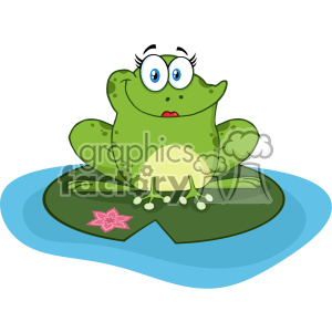 10669 Royalty Free RF Clipart Smiling Frog Female Cartoon Mascot Character In A Pond Vector Illustration
