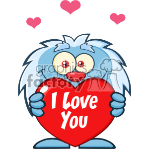 10652 Royalty Free RF Clipart Cute Little Yeti Cartoon Mascot Character Holding A Valentine Love Heart Vector With Text I love You clipart. Royalty-free image # 403376