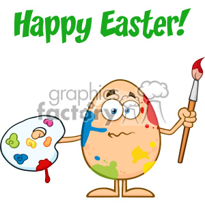 10942 Royalty Free RF Clipart Confused Egg Cartoon Mascot Character Spattered and Holding A Paintbrush And Palette Vector With Text Happy Easter clipart. Commercial use image # 403381