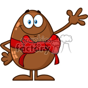 10946 Royalty Free RF Clipart Smiling Chocolate Egg Cartoon Mascot Character With A Red Ribbon And Bow Waving For Greeting Vector Illustration