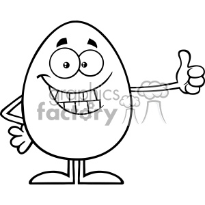 10943 Royalty Free RF Clipart Black And White Smiling Egg Cartoon Mascot Character Showing Thumbs Up Vector Illustration animation. Commercial use animation # 403391