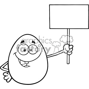10970 Royalty Free RF Clipart Black And White Talking Egg Cartoon Mascot Character Holding A Blank Sign Vector Illustration