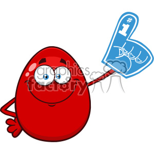 10981 Royalty Free RF Clipart Red Easter Egg Cartoon Mascot Character Wearing A Foam Finger Vector Illustration clipart. Royalty-free image # 403406