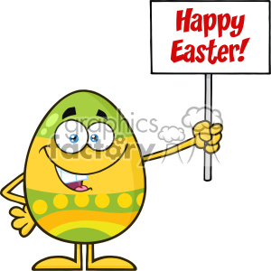 10954 Royalty Free RF Clipart Colored Easter Egg Cartoon Mascot Character Holding A Blank Sign Vector With Text Happy Easter clipart. Royalty-free image # 403416