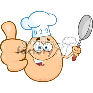10964 Royalty Free RF Clipart Chef Egg Cartoon Mascot Character Showing Thumbs Up And Holding A Frying Pan Vector Illustration clipart. Commercial use image # 403441