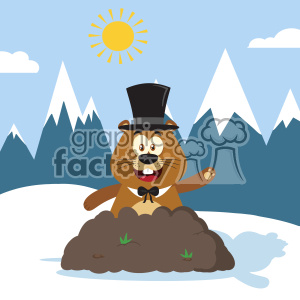 10647 Royalty Free RF Clipart Happy Marmmot Cartoon Mascot Character With Cylinder Hat Waving In Groundhog Day Vector Flat Design With Background clipart. Commercial use image # 403446