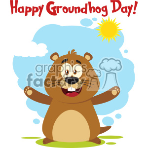 10631 Royalty Free RF Clipart Happy Marmot Cartoon Mascot Character With Open Arms And Text Happy Groundhog Day Vector Flat Design With Background Isolated On White