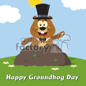 10650 Royalty Free RF Clipart Happy Marmmot Cartoon Mascot Character With Cylinder Hat Waving In Groundhog Day Vector Flat Design With Background And Text Happy Groundhog Day