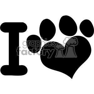10708 Royalty Free RF Clipart I Love Animals With Black Heart Paw Print Logo Design Vector Illustration