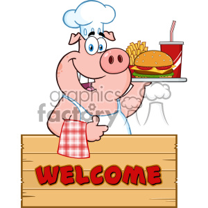 10724 Royalty Free RF Clipart Chef Pig Cartoon Mascot Character Holding A Tray Of Fast Food Over A Wooden Sign Giving A Thumb Up Vector With Text Welcome clipart. Royalty-free image # 403471