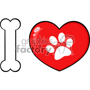 10715 Royalty Free RF Clipart I Love Animals With Bone And Red Heart With Paw Print Logo Design Vector Illustration clipart. Royalty-free image # 403476