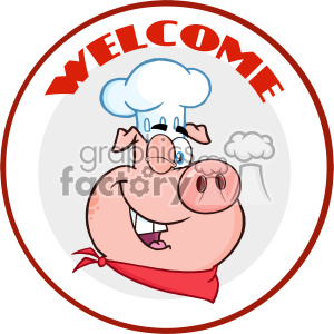 10732 Royalty Free RF Clipart Winking Chef Pig Cartoon Mascot Character Circle Banner With Text Welcome Vector Illustration clipart. Commercial use image # 403481